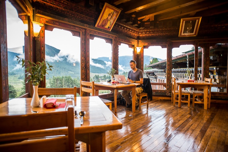 Matt hard at work in the Punakha Valley, Bhutan