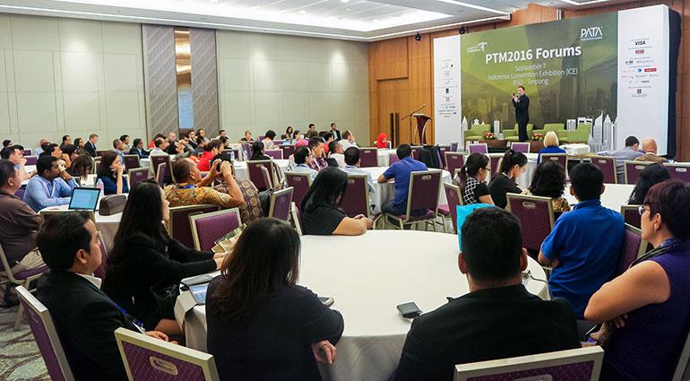UpThink CEO, Matt Gibson, speaking at PATA Mart in Jakarta, Indonesia